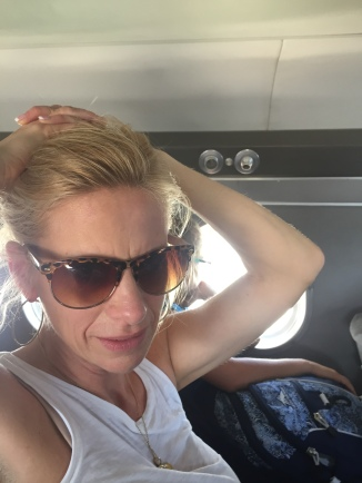 toughing it out on the hot plane.