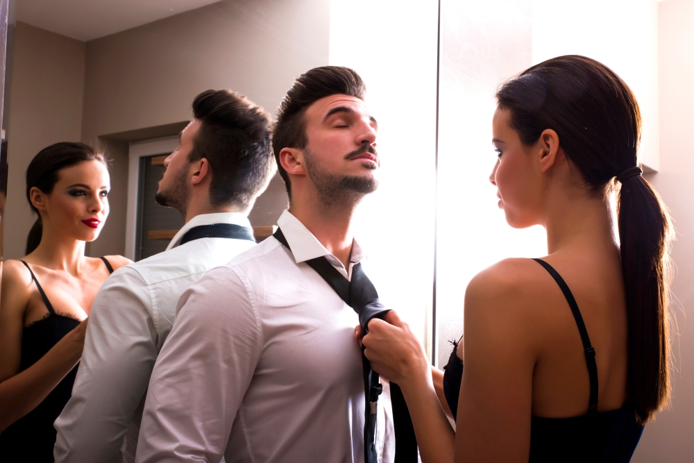 couple getting dressed